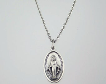 Medium Miraculous Medal Necklace Available in Spanish