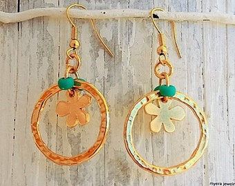 Golden Flower Earrings, Flower Drop Earrings, Flower Dangle Earrings, Small Golden Earrings, Statement Earrings, Gold Flower Jewelry