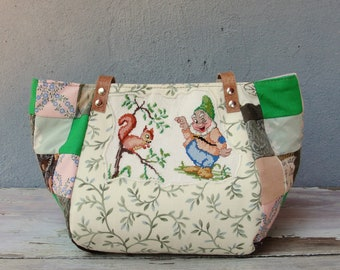 Fairy tale Bag - Snow White and the Seven Dwarfs - Vintage Embroidery, Brown Green, Patchwork and Leather Bag