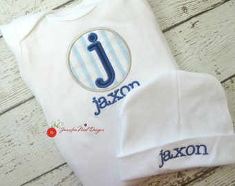 Coming home outfit for boys, baby gowns for boys, personalized baby name gown, take home outfit, hospital take home outfit, baby boy gown