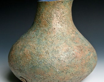 Blue, Green and Bronze Stoneware Vase