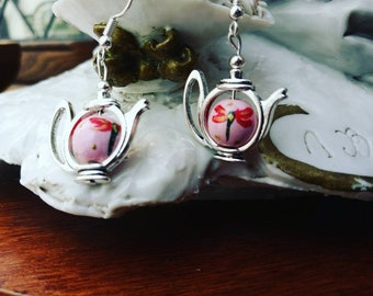 Teapot Earrings - Dragonfly (Hand painted)