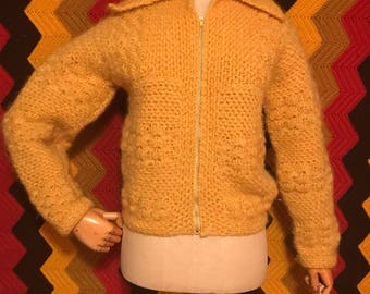 Vintage 60's crocheted womans sweater with zipper.Size small-medium