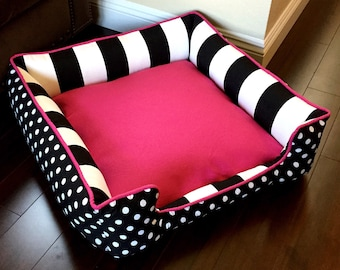 Polka Dot Custom Dog or Cat Bed | FREE PERSONALIZATION | Bolster Dog Bed | Washable Pet Bedding | Reversible Dog Bed | Dog Bed Cover | Pet