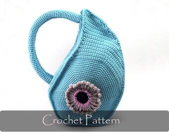CROCHET PATTERN - Crochet Bag Pattern with Round Handles Unique Purse Crochet Pattern Teardrop Handbag Pattern PDF - P0014