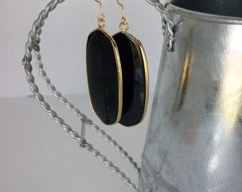 Onyx Drop Earrings Gold Ear Wire Genuine Black Onyx Earrings Large Black Onyx Earrings Black Onyx Long Drop Earrings Onyx and Gold E0104