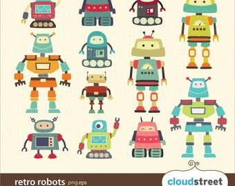 BUY 2 GET 1 FREE Vintage Robots Clipart for personal and commercial use ( cute robot clip art ) vector graphics
