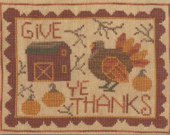 Give Ye Thanks counted cross stitch patterns by Teresa Kogut at thecottageneedle.com Thanksgiving turkey pumpkin spice November