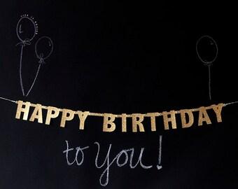 MINI gold glitter Happy Birthday banner garland