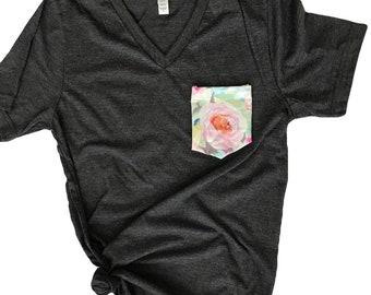 Women's Tshirt, Women's Pocket Tshirt, Watercolor Floral