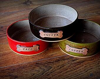 Large Handmade Custom Personalized Pottery Dog Dish