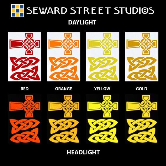 Celtic Cross Reflective Decal Set / Celtic Knot Helmet