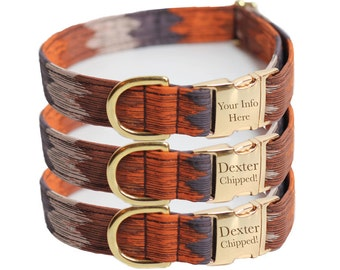 Southwestern Dog Collar - Personalized Dog Collar - Engraved, Laser - Mojave (Shown with optional Enraving)