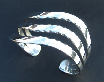 Triple River Sterling Cuff Bracelet with Curve