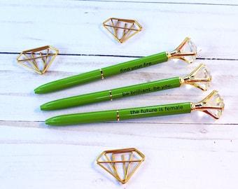 Diamond Top Green Ballpoint Pen with Sentiment