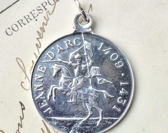 St Joan of Arc on Horseback Medal - Patron of strong women, soldiers, prisoners & France - Sterling Silver Antique Replica