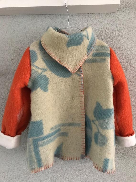 Handmade blanket coat | wool girls jacket |  wool blanket coat | handmade wool coat | girls wool coat | size 116