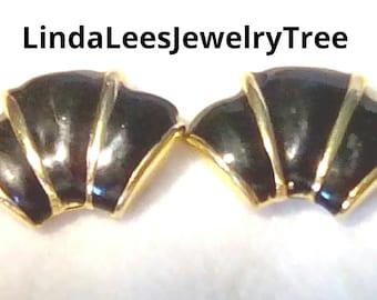 Vintage 50's Black & Gold Shoe Clips
