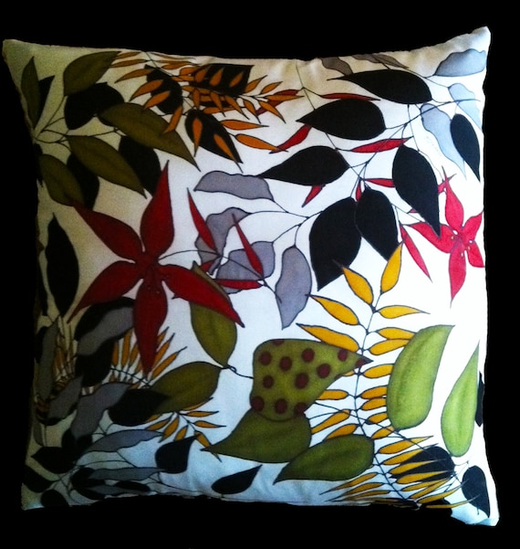 "Throw Pillow,  Hand Painted Silk - ""So Many Leaves"""