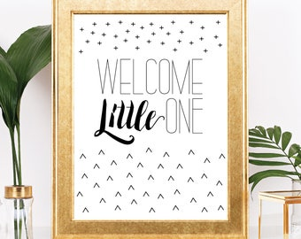 Welcome Little One - Instant Download - Minimalist Black and White Baby Shower Sign - Printable Digital Download