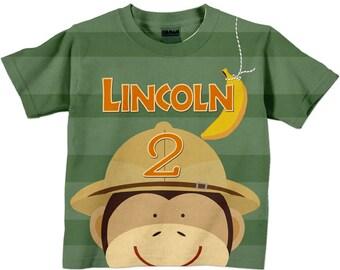 Boys Safari Shirt, Personalized Monkey Jungle Birthday Number Tshirt