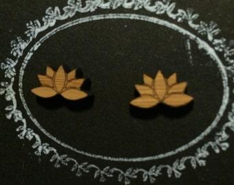 Lasercut Bamboo 'Lotus Flower' Stud Earrings