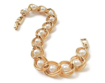Vintage Napier Bracelet, Faux Pearls and Gold Tone Chain Bracelet, Double Link Textured Chain