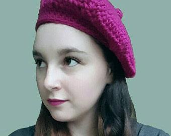 Raspberry Beret Crochet Pattern - PDF FILE ONLY - Instant Download