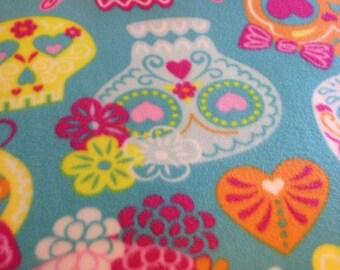 RaToob, Orange Pink Yellow White Light Blue Sugar Skulls and Hearts on Turquoise