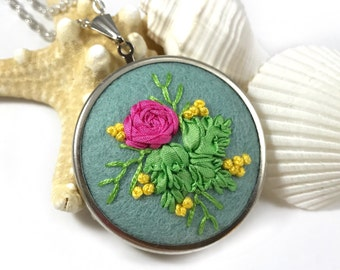 Flower Statement Jewelry, Embroidered Jewelry, Boho Jewelry, Botanical Jewelry, Large Floral Necklace, Wife Gift, Boho Chic, Floral Necklace