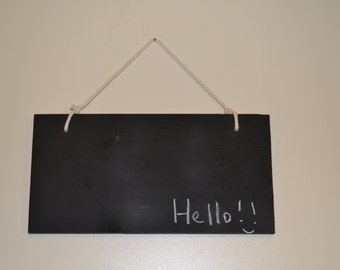 Handmade hanging chalkboard/blackboard/message board sign made from recycled pine lumber
