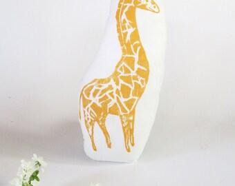 Giraffe Shaped Animal Pillow. Hand Woodblock Printed. Choose ANY Color. Made to Order.