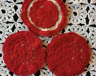 50s Coaster set , 3 Embroidered red coasters ethnic Traditional Transylvania  Irásos embroidery Hungarian set of 3 one of a kind Gift idea