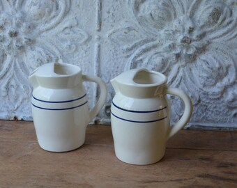 Pair Of Vintage Country Farm House White Ironstone Pitcher's
