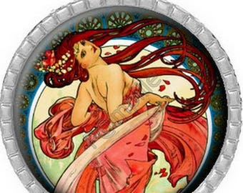 Cabochon pendant - Woman in the red dress (757)