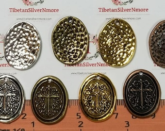 6 pcs per pack 27x21mm One side Oval Hammered Cross stamp in color to choose Finish Lead Free Pewter