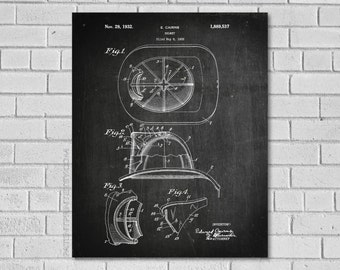 Fire Helmet Patent Print - Fireman Patent - Firefighter Patent - Firefighter Art - Firefighter Decor - Historical Print - Patent Print CF537