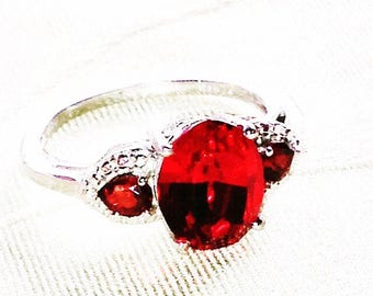 Garnet And Crystal Ring In Platinum, Handmade Jewelry By NorthCoastCottage Jewelry Design & Vintage Treasures
