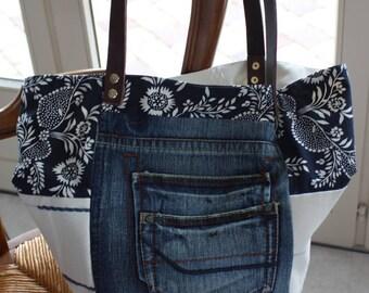 Blue Denim tote bag, fabric, ecru, blue floral, leather, reversible
