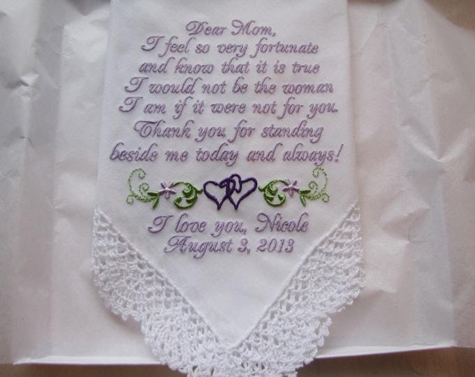 Personalized Mother of the Bride Wedding Handkerchief, Custom Wedding Hankie, Embroidered Custom Handkerchief, Mother of the Groom