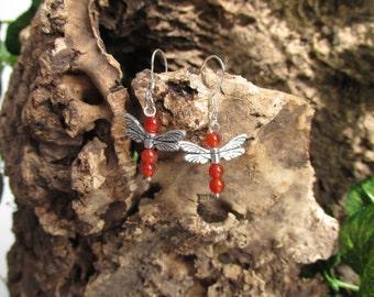 Dragonfly earrings with carnelian