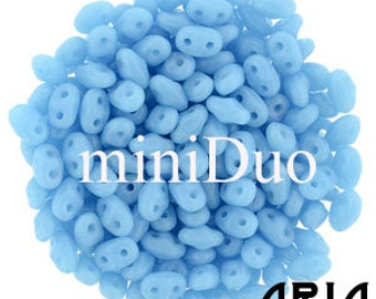 BLUE TURQUOISE: MiniDuo Two-Hole Czech Glass Seed Beads, 2x4mm (10 grams)
