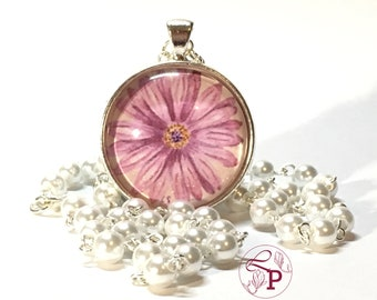 Pearl necklace | Flower pendant | Pendant necklace | Flower jewelry | Rose pendant | Beaded necklace | Flower necklace | Bridal necklace