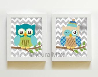 "Nursery Owl Print wall art ,Set of two 8""x 10"" Boys Woodland Owl Nursery Art"
