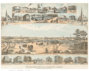 Willimantic Connecticut 1882 Birds Eye View CT Reprint