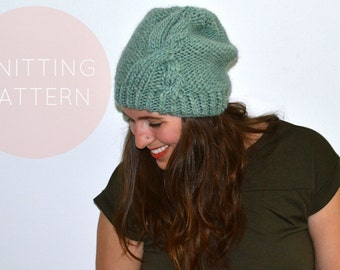Instant Download Knitting Pattern - Womens Hat Pattern - Knit Hat Pattern - Cable Hat Pattern - Pom Pom Hat Pattern Womens Accessories