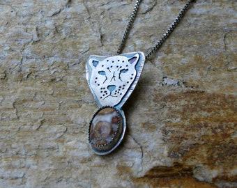 sterling totem leopard necklace with leopard jasper
