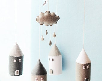 Cloud Raindrop House Baby Mobile, Black White Grey, Cloud Mobile, Nursery Mobile, Cloud and Rain, Cloud Nursery, Baby Boy Mobile, Baby Girl