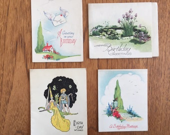 Vintage 40's Birthday, Greetings Cards, 4 - Garden Pond with Iris Flowers, Sundial, Winged Letter and Cottage,Medieval Couple