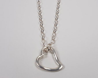 New Collection! Romantic Open Heart pendant in Sterling silver. 20% Off. Free shipping